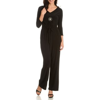 Nina Leonard Women's Solid V-Neck 3/4-sleeve Jumpsuit