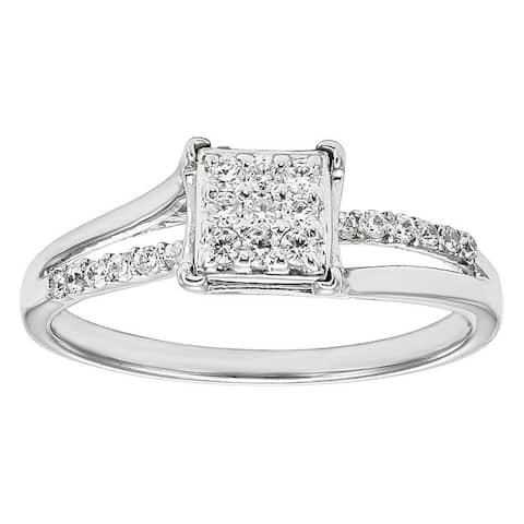 Unending Love Sterling Silver 1/4 ctw Diamond Square Top Fashion Ring