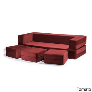 California King Convertible Sleeper Sofa and Ottomans (Option: Red)
