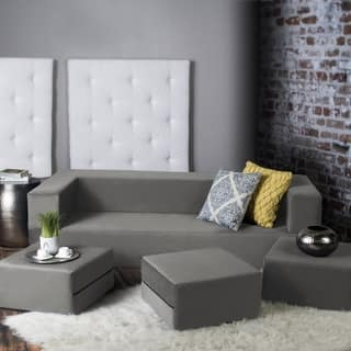 Porch & Den Claiborne California King Convertible Sleeper Sofa and Ottomans