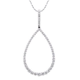 Beverly Hills Charm 14k White Gold 1ct TDW Graduated Diamonds Teardrop Necklace