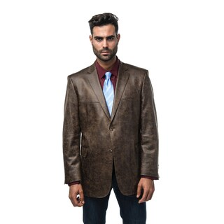 Verno Bellante Men's Dark Brown Faux Leather Classic Fit Sports Coat