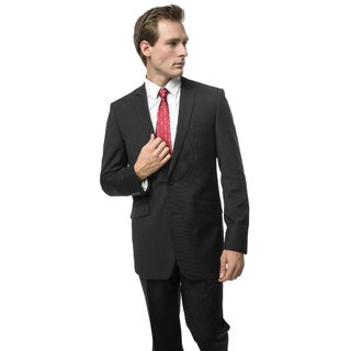 Verno Addeo Men's Black Slim Fit Italian Styled Two-Piece Suit