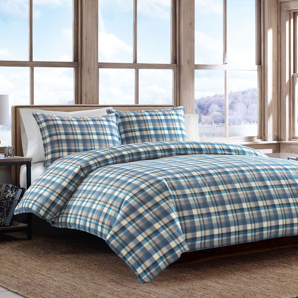 Eddie Bauer Spencer Plaid Flannel 3-piece Duvet Cover Set