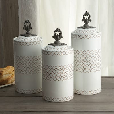 American Atelier Set of 3 Red/Blue/White Canisters