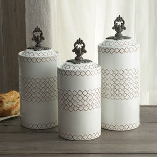 American Atelier Set of 3 Red/ Blue/ White Canisters
