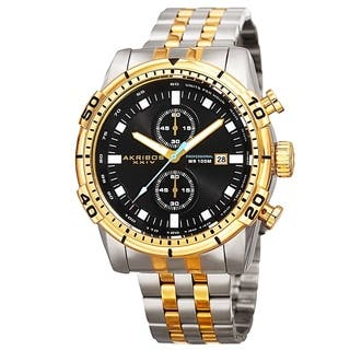 Akribos XXIV Men's Quartz Chronograph Stainless Steel Two-Tone Bracelet Watch with FREE GIFT|https://ak1.ostkcdn.com/images/products/10704175/P17764325.jpg?impolicy=medium