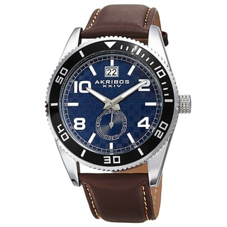 Akribos XXIV Men's Quartz Rotating Bezel Leather Blue Strap Watch