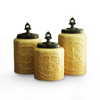 Delightful Antique Cream Canisters (Set Of 3)