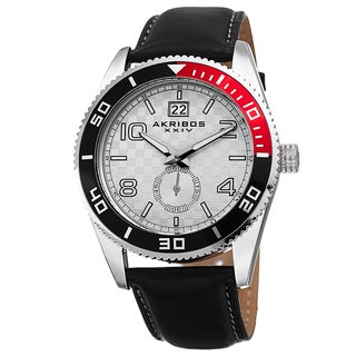 Akribos XXIV Men's Quartz Rotating Bezel Leather Silver-Tone Strap Watch with Gift Box - Silver