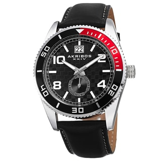 Link to Akribos XXIV Men's Japanese Quartz Rotating Bezel Leather Strap Watch Similar Items in Men's Watches