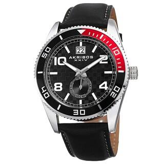Akribos XXIV Men's Japanese Quartz Rotating Bezel Leather Strap Watch
