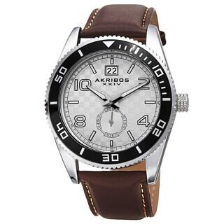 Akribos XXIV Men's Quartz Rotating Bezel Leather Silver-Tone Strap Watch - Brown