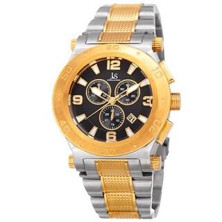 Joshua & Sons Men's Swiss Quartz Chronograph Multifunction Stainless Steel Two-Tone Bracelet Watch - Gold