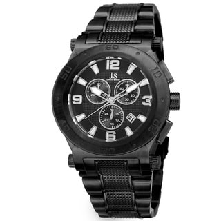 Joshua & Sons Men's Swiss Quartz Chronograph Multifunction Stainless Steel Black Bracelet Watch