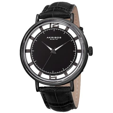 Akribos XXIV Men's Quartz Transparent Dial Leather Black Strap Watch