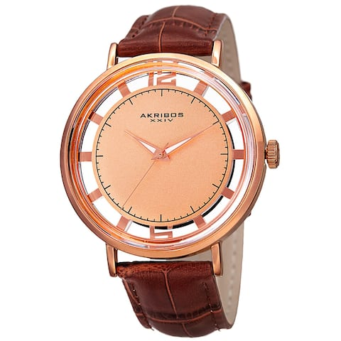 Akribos XXIV Men's Quartz Transparent Dial Leather Rose-Tone Strap Watch - brown
