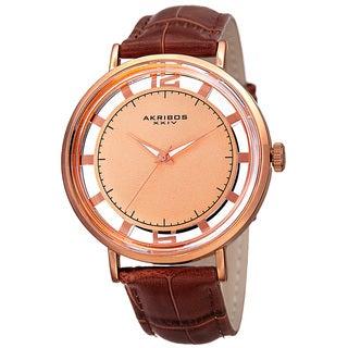 Akribos XXIV Men's Quartz Transparent Dial Leather Rose-Tone Strap Watch