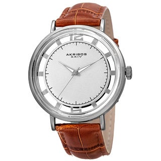 Akribos XXIV Men's Quartz Transparent Dial Leather Silver-Tone Strap Watch