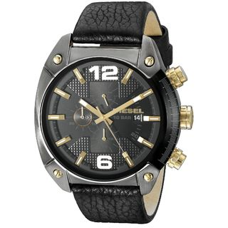 Diesel Men's DZ4375 'Overflow' Chronograph Black Leather Watch