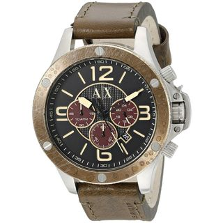 Armani Exchange Men's AX1518 'Wellworn' Chronograph Brown Leather Watch