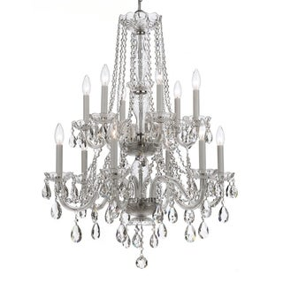 Crystorama Traditional 12-light Clear Crystal/ Chrome Chandelier