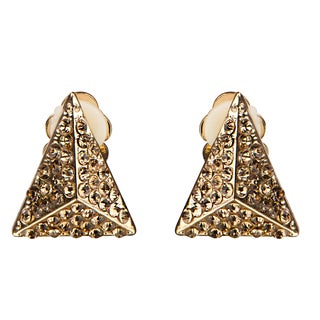Brass and Champagne Triangular Clip-on Earrings