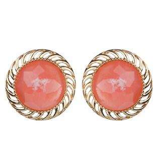 Brass Pink Round Button Stud Earrrings