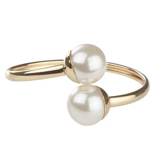 Gold and Pearl Bangle Bracelet