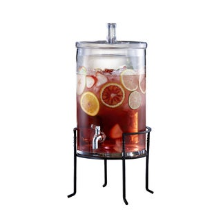 2.5-gallon Glass Beverage Dispenser with Metal Stand