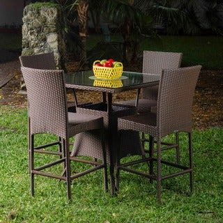 42-inch Brown Outdoor Synthetic Rattan Table and 30-inch Bar Stool 5-piece Pub Set