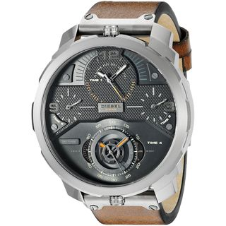 Diesel Men's DZ7359 'Machinus' 4 Time Zones Chronograph Brown Leather Watch