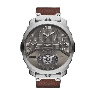 Diesel Men's DZ7360 'Machinus' 4 Time Zones Chronograph Brown Leather Watch