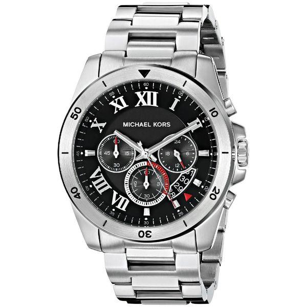 2d7a2292d92b Michael Kors Men  x27 s MK8438 Brecken Chronograph Black Dial Stainless  Steel Bracelet Watch