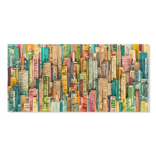 Gallery Direct Abstract Cityscape Print on Birchwood Wall Art