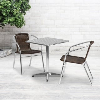 23.5'' Square Aluminum Indoor-Outdoor Table with 2 Rattan Chairs