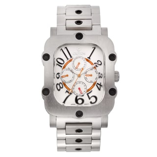 Croton Men's CN307529SSSL Stainless Steel Silvertone Rectangular Watch