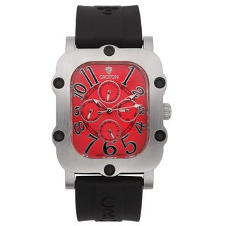 Croton Men's CN307529BSRD Stainless Steel Silvertone Silicon Strap Watch