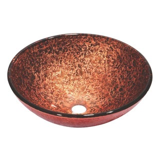 Dawn Tempered Glass Hand-painted Glass Vessel Sink Round Shape Pink and Brown