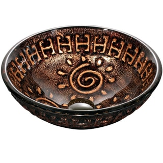 Dawn Tempered Glass Hand-painted Glass Vessel Sink Round Shape Copper and Gold