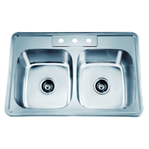 Dawn Top Mount Equal Double Bowl Sink with 3 Holes