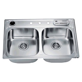 Dawn Top Mount Equal Double Bowl Sink (included Accessories: Dawn Knife Shelf Ks322 and Dawn Utensil Holder Uh322)