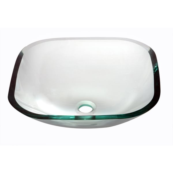 Shop Dawn Tempered Glass Vessel Sink Square Shape Clear Glass Free