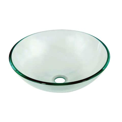 Dawn Tempered Glass Vessel Sink Round Shape Clear Glass