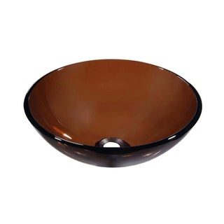 Dawn Tempered Glass Vessel Sink Round Shape Brown Glass