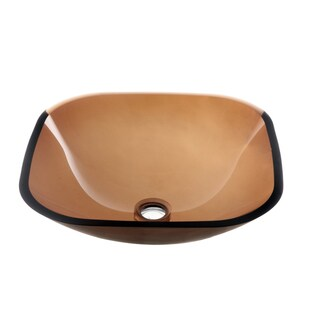 Dawn Tempered Glass Vessel Sink Square Shape Brown Glass