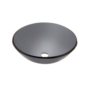 Dawn Tempered Glass Vessel Sink Round Shape Grey Glass