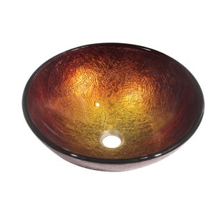 Dawn Tempered Glass Hand-painted Glass Vessel Sink Round Shape Gold and Brown