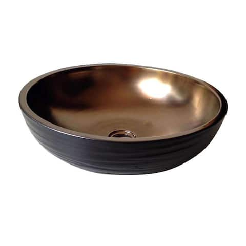 Dawn Ceramic Hand Engraved and Hand-painted Round Vessel Sink - Goldtone Finish/Black Finish
