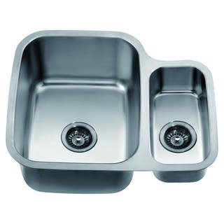 Dawn Undermount Double Bowl Sink (25-inch x 21-inch x 10-inch) Small Bowl On Right|https://ak1.ostkcdn.com/images/products/10704599/P17764643.jpg?impolicy=medium